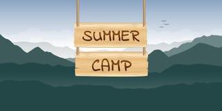 Summer camp wooden sign at green mountain nature landscape. Vector illustration EPS10 stock illustration