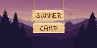 Summer camp wooden sign at purple mountain nature landscape. Vector illustration EPS10 royalty free illustration