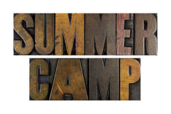 Summer Camp. The words SUMMER CAMP written in vintage letterpress type Stock Image