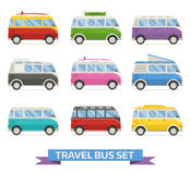 Summer Camper Van Colorful Vector Icons Stock Images
