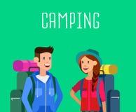 Summer camping characters. Royalty Free Stock Photos
