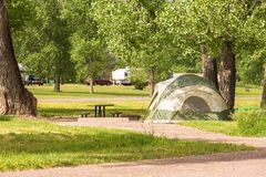Camping. Summer camping at Cherry Creek State Park, Colorado stock photography