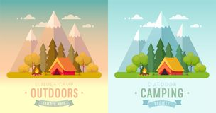 Summer Camping day and sunset graphic posters. Stock Photo