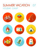 Summer camping flat icon set. Holiday. Summer camping vector flat icon set. Summer time. Holiday Stock Photography