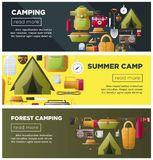 Summer camping and forest camp vector banners. Summer camp web banners for scout camping and hiking travel adventure. Vector camp tent and sleeping bag, radio Stock Images