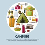 Summer camping and forest camp vector poster. Summer camp poster for scout camping and hiking adventure. Vector camp tent, binoculars or radio and spade, bowler Royalty Free Stock Photography