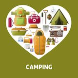 Summer camping heart vector poster. Camping heart poster of summer camping tools for hiking adventure. Vector camp tent, scout sleeping bag and backpack with Royalty Free Stock Images