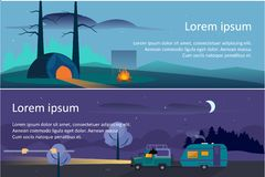 Summer camping horizontal banners, travel, eco tourism, touristic tent and camp trailer at night vector Illustration vector illustration