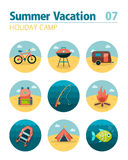 Summer camping icon set. Holiday Royalty Free Stock Photos