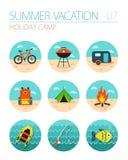 Summer camping icon set. Holiday Royalty Free Stock Image