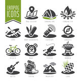 Summer camping icon set Royalty Free Stock Images