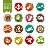 Summer camping icon set Royalty Free Stock Photos