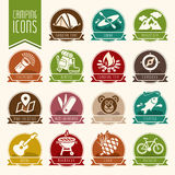 Summer camping icon set. Quality set of icons that can be used on the camp Stock Photos