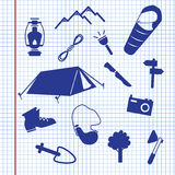 Summer camping icons. On the paper Royalty Free Illustration