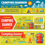 Summer camping - mountain expedition adventures - vector decorative banners set in flat style design trend Royalty Free Stock Photography