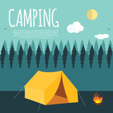 Summer Camping Nature Background in Modern Flat Style with Sampl Royalty Free Stock Image