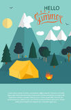 Summer Camping Nature Background in Modern Flat Style Royalty Free Stock Photo
