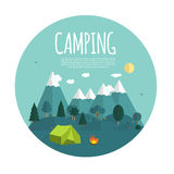 Summer Camping Nature Background in Modern Flat Style  Stock Photo