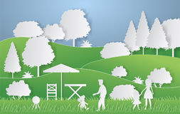Summer camping paper cut style. Concept with hills, trees, people at a picnic. Vector illustration.  Royalty Free Stock Image