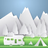 Summer camping paper cut style. Concept with mountain, trees, people at a picnic. Vector illustration Stock Photo