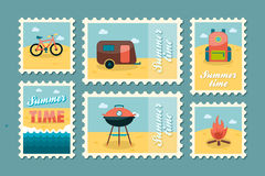 Summer camping stamp set. Holiday Stock Images