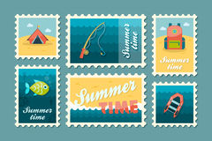 Summer camping stamp set. Holiday Royalty Free Stock Image