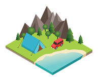 Summer Camping and tent near a river or lake. Flat 3d vector isometric illustration. Vacation and holiday concept Royalty Free Stock Photo