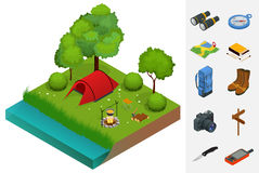 Summer Camping and tent near a river or lake. Flat 3d vector isometric illustration. Vacation and holiday concept. stock illustration