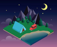 Summer Camping and tent near a river or lake. Moonlight night. Vacation and holiday concept. Flat 3d  isometric illustration. Concept picture Royalty Free Stock Photos
