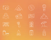 Summer camping and travel outline icons set Royalty Free Stock Images