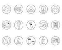 Summer camping and travel outline icons set Royalty Free Stock Photos