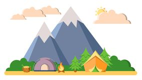 Summer camping, trekking and climbing vector landscape flat illustration. Mountain, woods and forest, tents, camfire. With clouds isolated on white background royalty free illustration