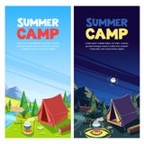 Summer camping vector banner, poster design template. Adventures, travel and eco tourism concept. Touristic camp tent. At day and night. Nature landscape royalty free illustration