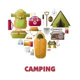 Summer camping vector poster of camp tools icons. Camping icons heart for summer camp club poster. Vector camping tools for mountaineering and scout travel of Royalty Free Stock Photos