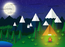 Summer Campsite with a campfire. In night time, Lake, Forest, Mountains, Sky, clouds, moon. travel and vacation concept. vector illustration in flat design Royalty Free Stock Photography