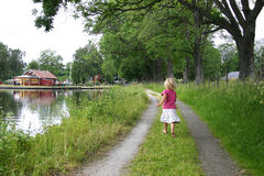 Summer by the canal stock images