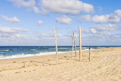 Summer in Cape Cod. Sandy beach on coast of Cape Cod Royalty Free Stock Image