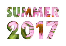 Summer 2017. Caption from pink flowers photo on white background for calendar, flyer, poster, postcard etc. Summer colors Stock Images