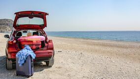 Free Summer Car On The Beach And Sunny Day.Travelling In Summer Holiday Time. Stock Image - 175545871