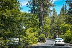 Summer car tour over the US natural parks. Family car on the highway in the Yosemite Valley Stock Photo