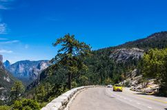 Summer car tour of the US natural parks. Summer tourist trip to Yosemite National Park Royalty Free Stock Image