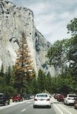 Summer car tour of the US natural parks. Tourist parking at the foot of the El Capitan cliff Royalty Free Stock Image