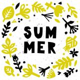 Summer card. Abstract floral background. Postcard or poster with paper floral elements. Cutout florals. Royalty Free Stock Photos
