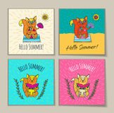 Summer card with animal characters. royalty free illustration