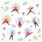 Summer card with ballet dancers, beautiful flowers and butterflies. Stock Image