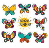 Summer card with butterflies and stylish lettering - 'the best summer'. Royalty Free Stock Images