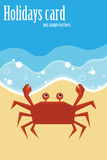 Summer card with crab. Cute summer card with a cartoon crab on beach.EPS file available Stock Photography