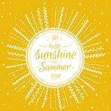 Summer card with cute sun and motivational Stock Images