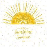 Summer card with cute sun and motivational Royalty Free Stock Images
