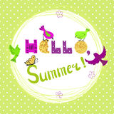 Summer card design with cute cartoon birds. Stock Image
